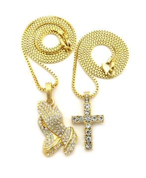 Iced Out Diamond Cz Prayer Hands Cross Pendant Set Gold