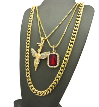 Halo Angel Gemstone Hop Hop Cuban Chain Pendant Red