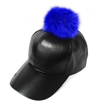 Ladies Celebrity Style Faux Leather Pom Pom Hat