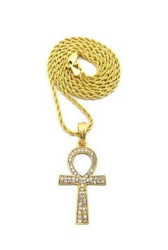 Egyptian Ankh Cross Diamond Cz 14k Gold Pendant Rope Chain