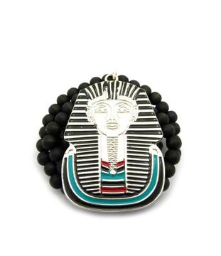 Egyptian Pharaoh Rhodium Silver Hip Hop Pendant w Wood Chain