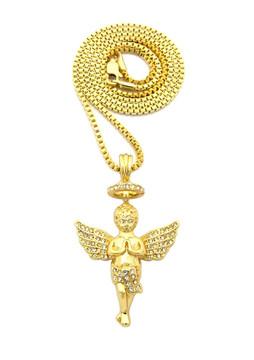 14k Gold Praying Angel Halo Diamond Cz Hip Hop Pendant