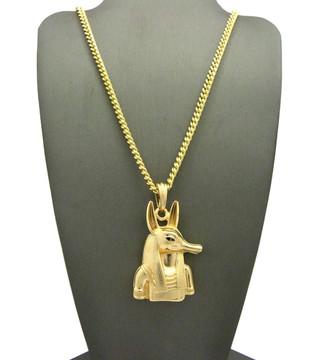 Egyptian God 14k Gold Anpu Anubis Bling Pendant Box Chain