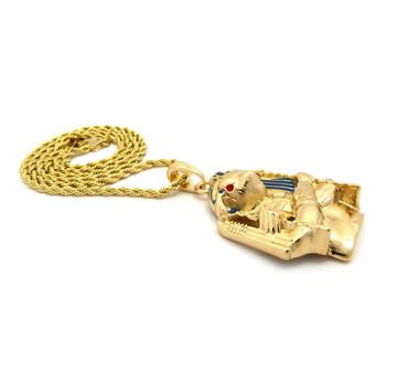 14k Gold Egyptian Horus Bird Cz Pendant Rope Chain