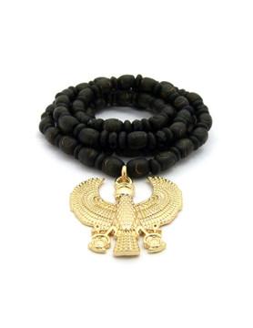 Falcon of Tutankhamun Egypt African Pendant w/ Beaded Chain