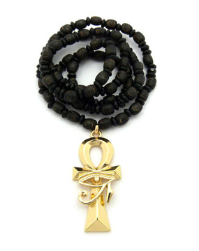 Eye Of Ra Ankh Cross Pendant w/ Wooden Beaded Chain