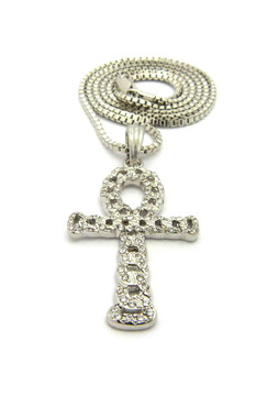 Ancient Egypt Hollow Ankh Cross Nugget Pendant Chain Silver