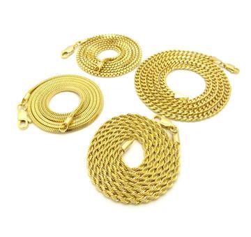 Hip Hop Box Cuban Rope Snake Link Chains Necklace Set 14k Gold