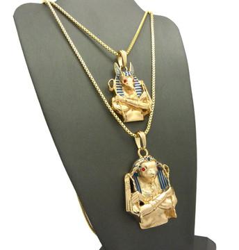 Egyptian God Anubis / Horus Bird Cz Pendant Box Chain 14k Gold