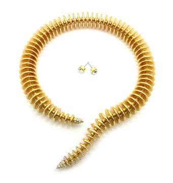 Women's Spring Coil Cuff Chain Necklace Earrings Set Gold