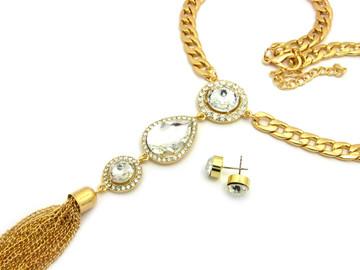 Three Crystal Teardrop Tassel Bling Chain Necklace Earrings Set