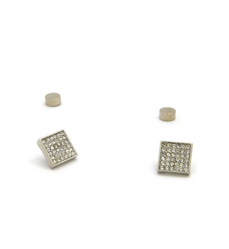 Mens Total Iced Out Square Diamond Cz Magnet Earrings Silver