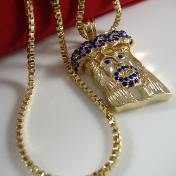 14k Gold Blue Stone Jesus Face Pendant Box Chain Necklace