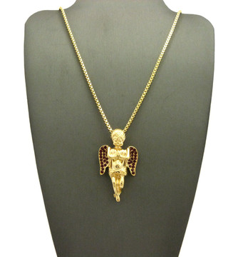 Iced Out Diamond Cz Angel Wings Pendant Box Chain