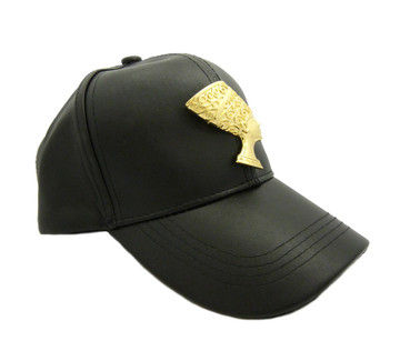 Queen Nefertiti African Brooch Pendant Faux Black Leather Hat