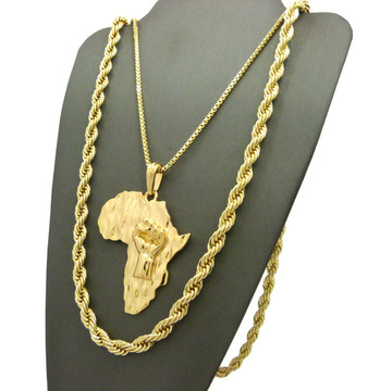 14k Gold Black Power Fist Mother Africa Pedant Rope Chain Set