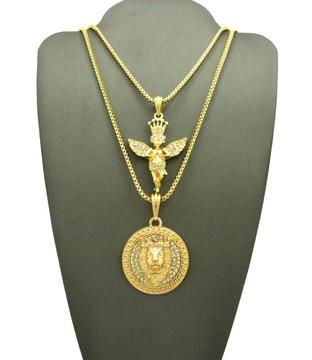Lion Of Judah Simulated Diamond Cherub Angel Pendant Gold