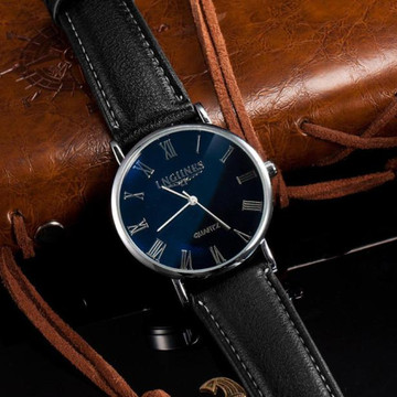 Mens New Luxury High Fashion Blue Ray Glass Leather Watch