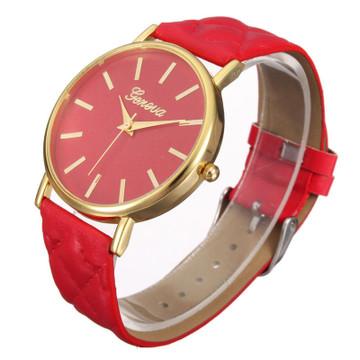 Ladies Casual Geneva Roman Leather Band Analog Quartz Watch