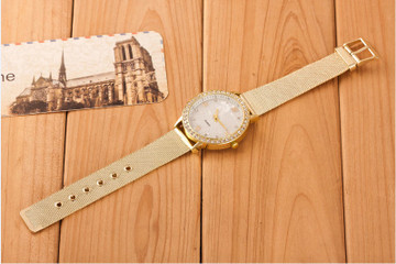 Classy Crystal Roman Numerals Gold Mesh Band Wrist Watch