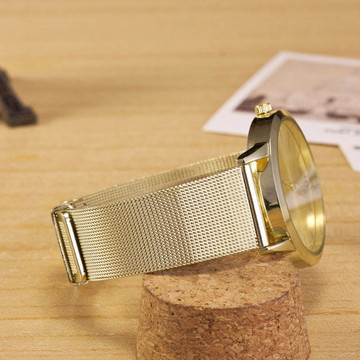 Avery 14K Gold Stainless Steel Mesh Band Wrist Watch