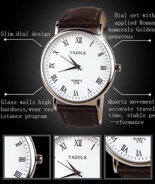 Luxury Fashion Leather Mens Analog Watch