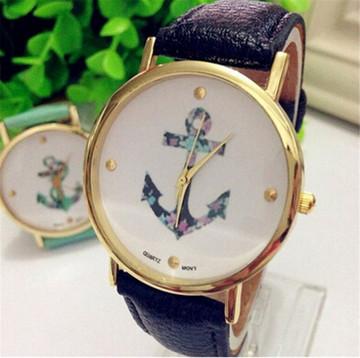 Ladies Vintage Flower Watch Anchor Leather Watch Black