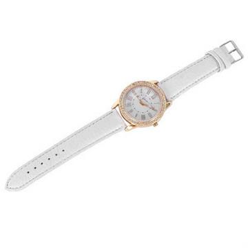 Bling Gold Crystal Women Luxury Leather Strap Quartz Wrist Watch