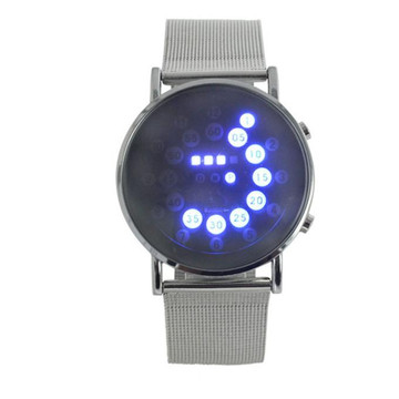 Mens LED Round Mirror Blue Circles Stainless Steel Watch