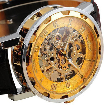Men's Leather Dial Skeleton Mechanical Bling Watch