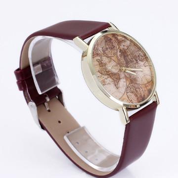 Fashion Women's World Map Leather Analog Quartz Watch