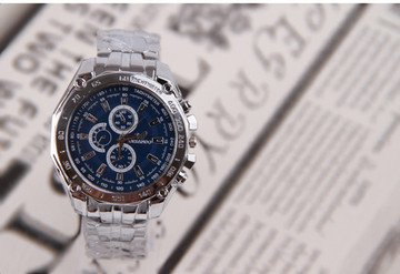 Blue Face Watch Mens Forever Classic Bling Luxury Stainless Steel