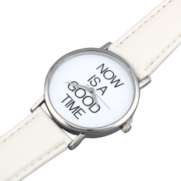 NOW IS A GOOD TIME Womens Leather Band Dial Watch