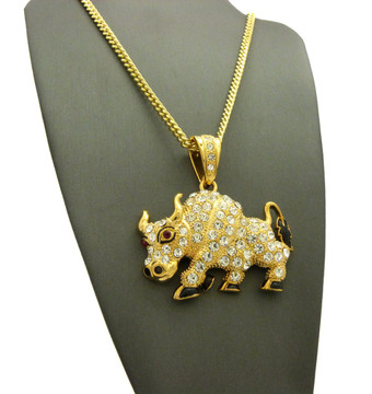 Travis Scott Inspired Bull Pendant Cuban Link Chain Necklace