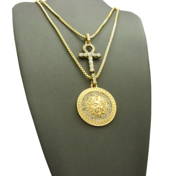All Ice African Ankh Cross Diamond Cz Medusa Pendant Set