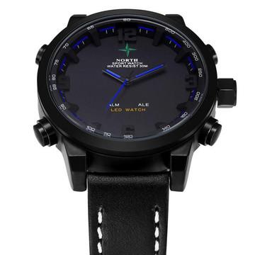 Mens Black Face Leather Casual Hip Hop Wrist Watch Blue
