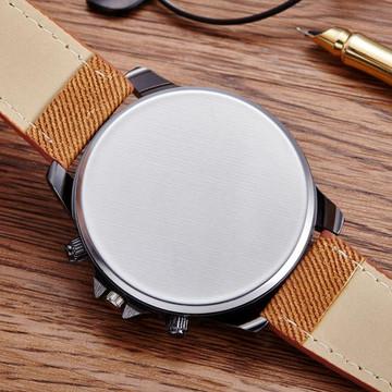 Mens Brown Leather Trim Strap Classic Baller Wrist Watch