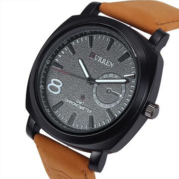 Mens Brown Luxury Leather Strap Classic Baller Wrist Watch