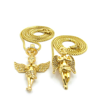 Praying Angel Winged Guardian Pendant Chain Set 14k Gold