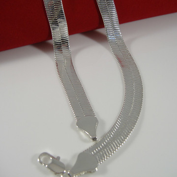 .925 9mm 30 Inch Sterling Silver Herringbone Link Chain Necklace