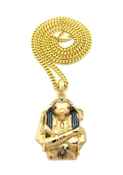14k Gold Egyptian Horus Bird Cz Pendant w/ Cuban Chain
