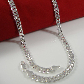 6.5mm 20 Inch Sterling Silver Concave Cuban Link Chain Necklace