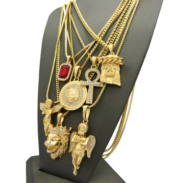 14k Gold GP God Of Prosperity Ultra Baller Pendant Chain Set