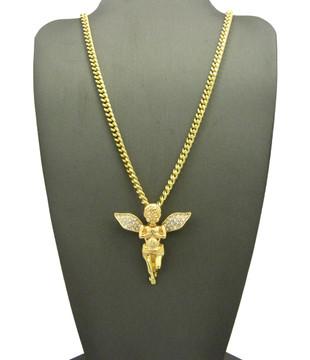 14k Gold Guardian Angel Praying Cherub Cuban Link Pendant