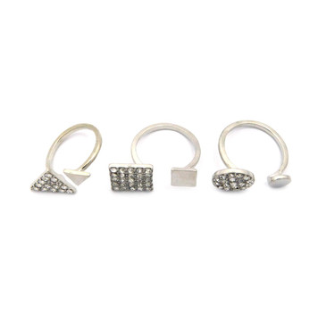 3 Piece Fashion Knuckle Ring Set Silver