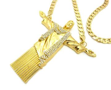 Christ the Redeemer Diamond Cut Cuban Chain Pendant