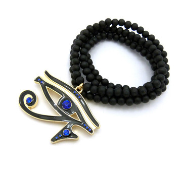 Diamond Cz Eye Of Ra Iced Out Pendant Wooden Chain Blue