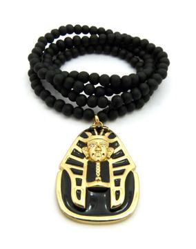 King Tut Black Enameled 14k Gold Ancient Egyptian Pendant
