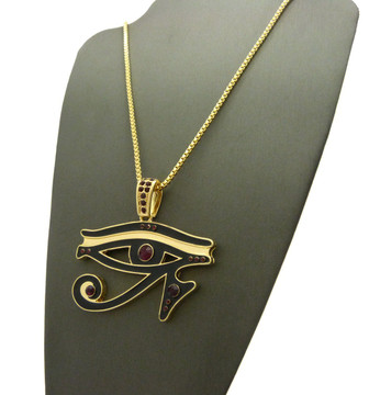 14k Gold Diamond Cz Eye Of Ra Iced Out Pendant Chain Red