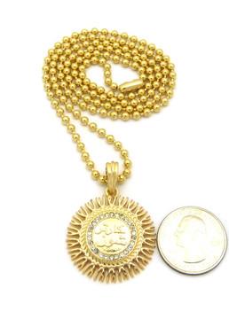 14k Gold Diamond Cz Allah Chain Pendant